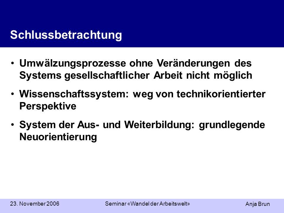 Anja Brun 23. November 2006Seminar «Wandel der Arbeitswelt» Schlussbetrachtung Umwälzungsprozesse ohne Veränderungen des Systems gesellschaftlicher Ar
