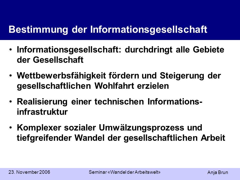 Anja Brun 23. November 2006Seminar «Wandel der Arbeitswelt» Informationsgesellschaft: durchdringt alle Gebiete der Gesellschaft Wettbewerbsfähigkeit f