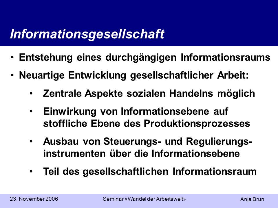 Anja Brun 23. November 2006Seminar «Wandel der Arbeitswelt» Informationsgesellschaft Entstehung eines durchgängigen Informationsraums Neuartige Entwic