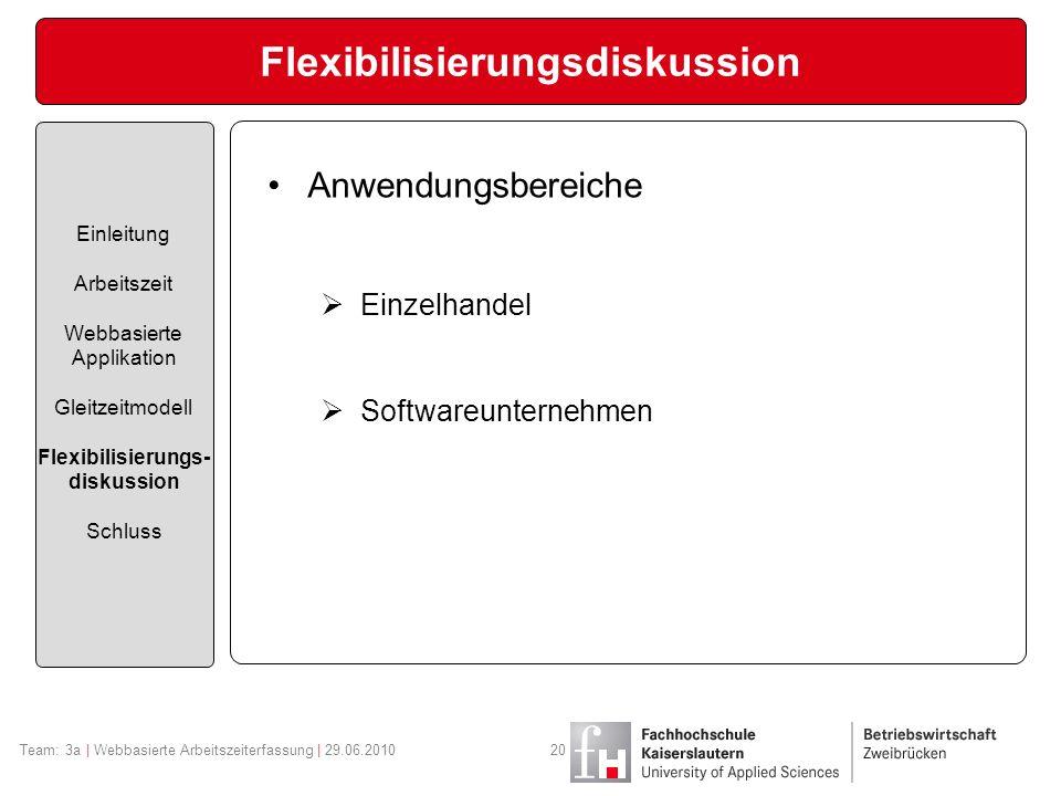 Flexibilisierungsdiskussion Einleitung Arbeitszeit Webbasierte Applikation Gleitzeitmodell Flexibilisierungs- diskussion Schluss Anwendungsbereiche Einzelhandel Softwareunternehmen Team: 3a | Webbasierte Arbeitszeiterfassung | 29.06.201020