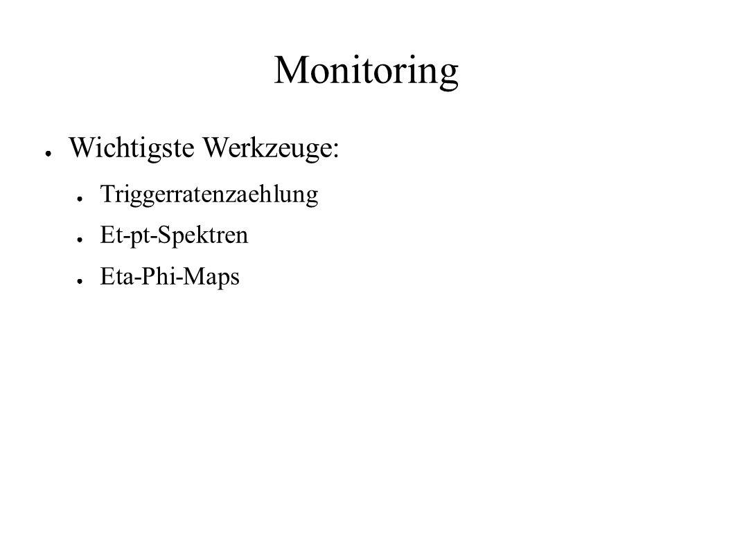 Monitoring Wichtigste Werkzeuge: Triggerratenzaehlung Et-pt-Spektren Eta-Phi-Maps