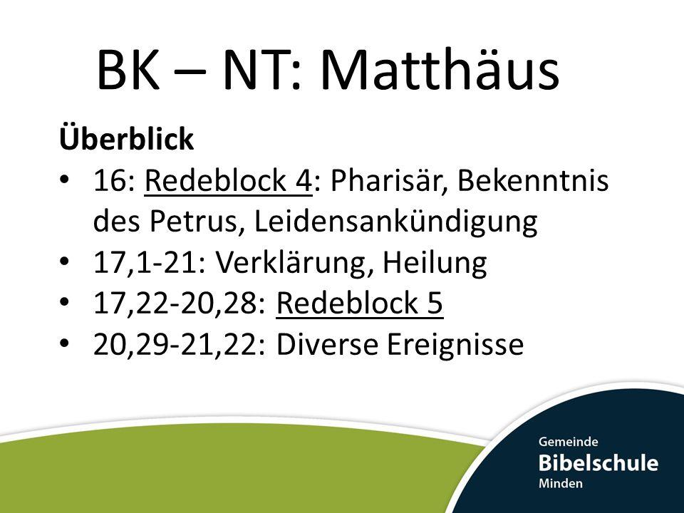 BK – NT: Matthäus Überblick 16: Redeblock 4: Pharisär, Bekenntnis des Petrus, Leidensankündigung 17,1-21: Verklärung, Heilung 17,22-20,28: Redeblock 5