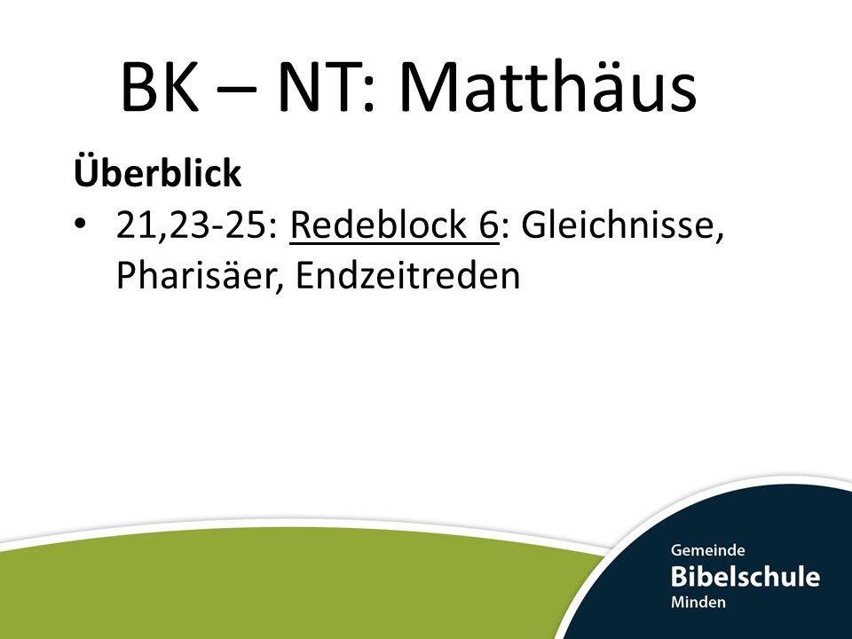 BK – NT: Matthäus Überblick 21,23-25: Redeblock 6: Gleichnisse, Pharisäer, Endzeitreden