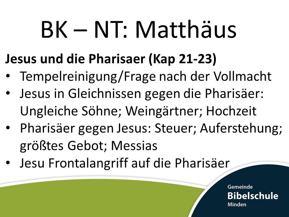 BK – NT: Matthäus Jesus und die Pharisaer (Kap 21-23) Tempelreinigung/Frage nach der Vollmacht Jesus in Gleichnissen gegen die Pharisäer: Ungleiche Sö