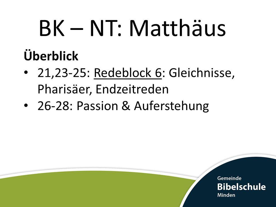 BK – NT: Matthäus Überblick 21,23-25: Redeblock 6: Gleichnisse, Pharisäer, Endzeitreden 26-28: Passion & Auferstehung