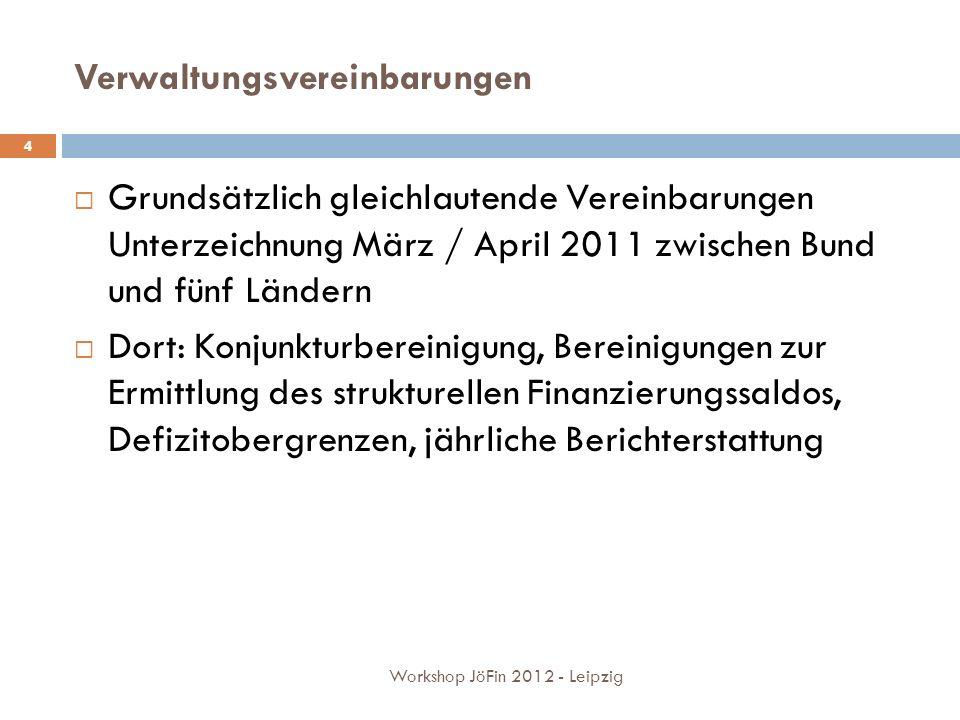 Verwaltungsvereinbarungen Grundsätzlich gleichlautende Vereinbarungen Unterzeichnung März / April 2011 zwischen Bund und fünf Ländern Dort: Konjunkturbereinigung, Bereinigungen zur Ermittlung des strukturellen Finanzierungssaldos, Defizitobergrenzen, jährliche Berichterstattung 4 Workshop JöFin 2012 - Leipzig