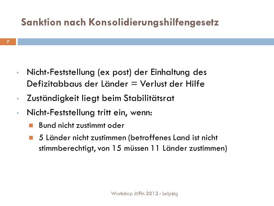Sanktion nach Konsolidierungshilfengesetz Nicht-Feststellung (ex post) der Einhaltung des Defizitabbaus der Länder = Verlust der Hilfe Zuständigkeit liegt beim Stabilitätsrat Nicht-Feststellung tritt ein, wenn: Bund nicht zustimmt oder 5 Länder nicht zustimmen (betroffenes Land ist nicht stimmberechtigt, von 15 müssen 11 Länder zustimmen) 7 Workshop JöFin 2012 - Leipzig