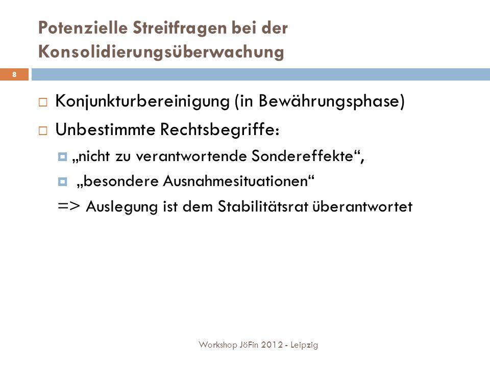 Potenzielle Streitfragen bei der Konsolidierungsüberwachung Workshop JöFin 2012 - Leipzig 8 Konjunkturbereinigung (in Bewährungsphase) Unbestimmte Rechtsbegriffe: nicht zu verantwortende Sondereffekte, besondere Ausnahmesituationen => Auslegung ist dem Stabilitätsrat überantwortet