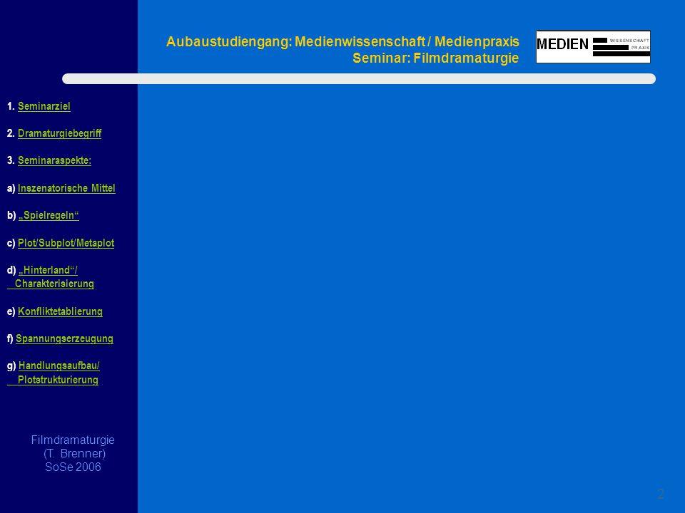 1. Seminarziel 2. Dramaturgiebegriff 3.