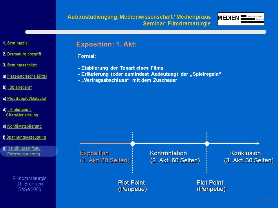 Filmdramaturgie (T. Brenner) SoSe 2006 1. Seminarziel 2. Dramaturgiebegriff 3. Seminaraspekte: a) Inszenatorische Mittel b) Spielregeln c) Plot/Subplo