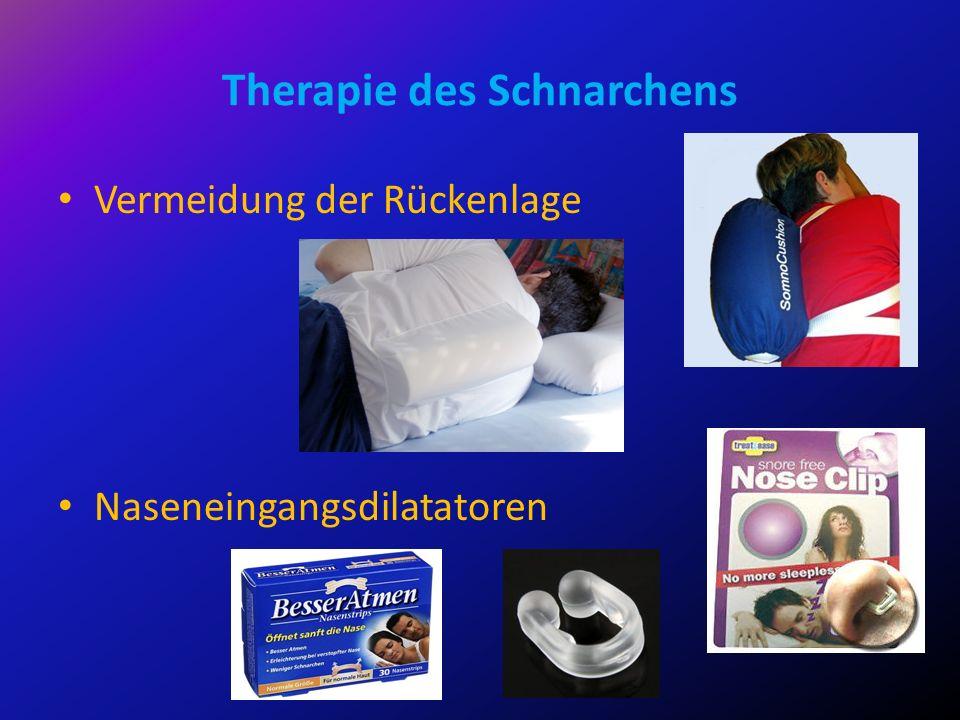 Therapie des Schnarchens Vermeidung der Rückenlage Naseneingangsdilatatoren