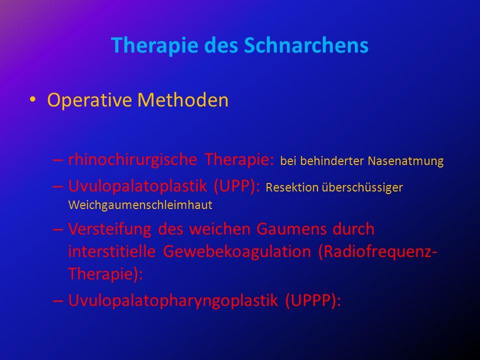 Therapie des Schnarchens Operative Methoden – rhinochirurgische Therapie: bei behinderter Nasenatmung – Uvulopalatoplastik (UPP): Resektion überschüss