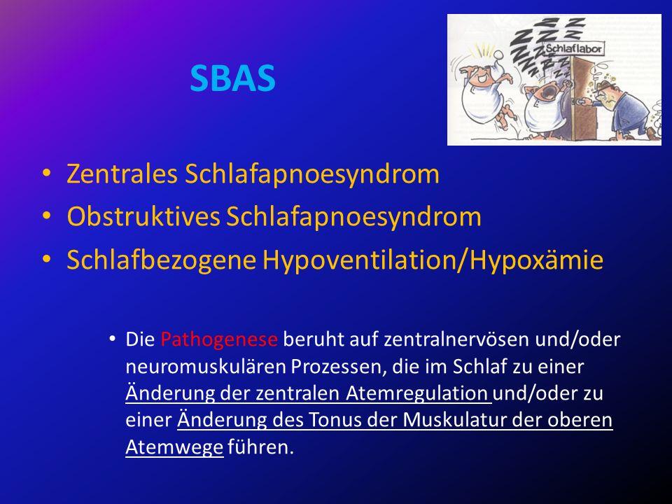 SBAS Zentrales Schlafapnoesyndrom Obstruktives Schlafapnoesyndrom Schlafbezogene Hypoventilation/Hypoxämie Die Pathogenese beruht auf zentralnervösen