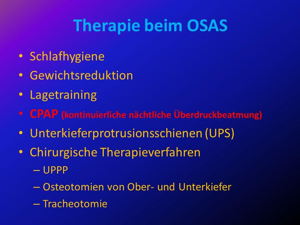 Therapie beim OSAS Schlafhygiene Gewichtsreduktion Lagetraining CPAP (kontinuierliche nächtliche Überdruckbeatmung) Unterkieferprotrusionsschienen (UP