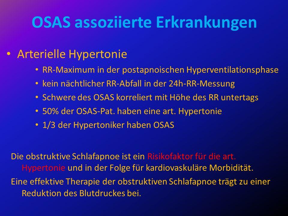 OSAS assoziierte Erkrankungen Arterielle Hypertonie RR-Maximum in der postapnoischen Hyperventilationsphase kein nächtlicher RR-Abfall in der 24h-RR-M
