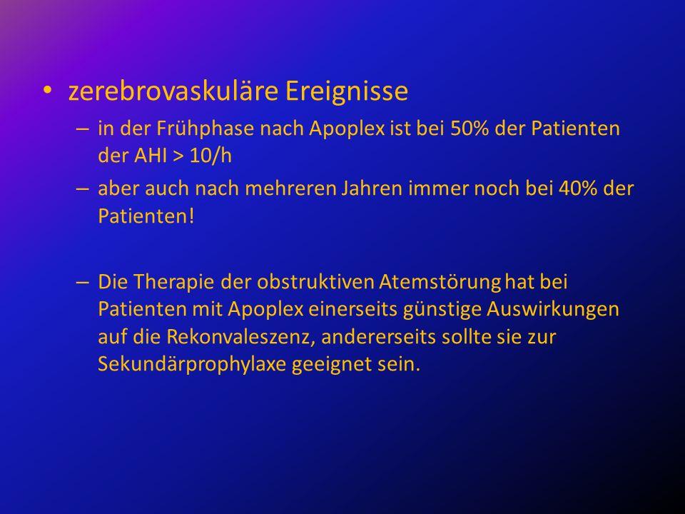 zerebrovaskuläre Ereignisse – in der Frühphase nach Apoplex ist bei 50% der Patienten der AHI > 10/h – aber auch nach mehreren Jahren immer noch bei 4