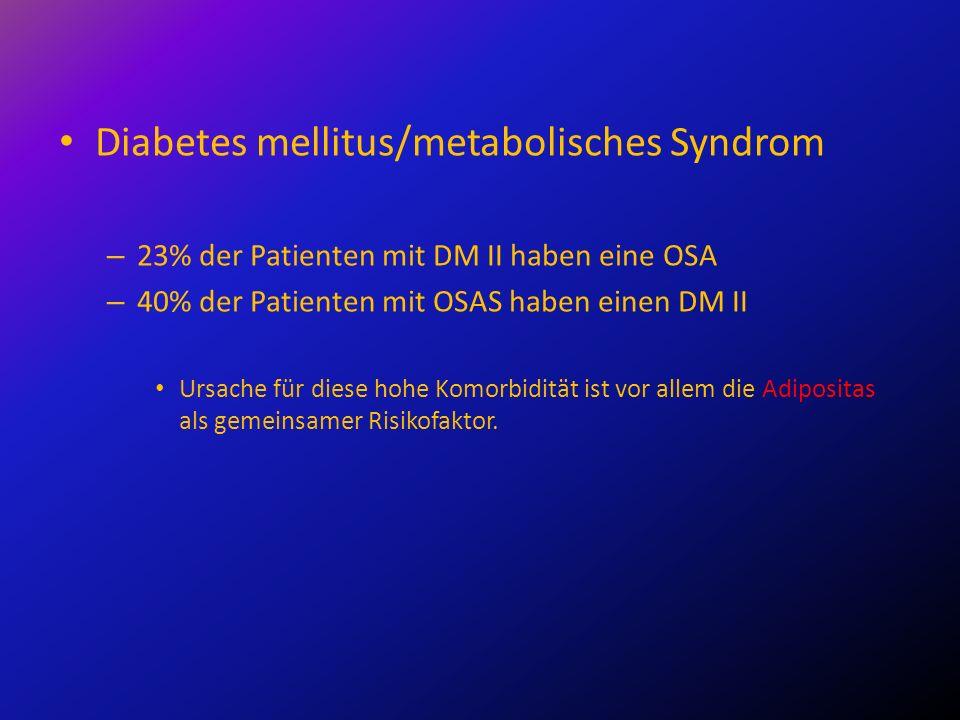 Diabetes mellitus/metabolisches Syndrom – 23% der Patienten mit DM II haben eine OSA – 40% der Patienten mit OSAS haben einen DM II Ursache für diese
