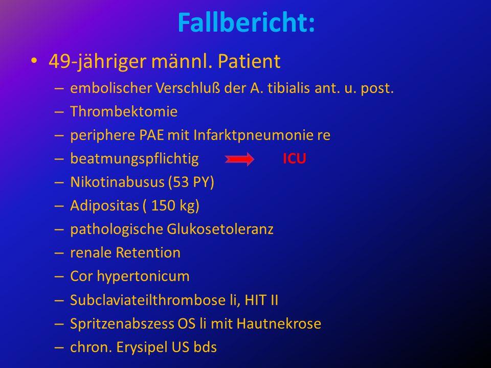 Fallbericht: 49-jähriger männl. Patient – embolischer Verschluß der A. tibialis ant. u. post. – Thrombektomie – periphere PAE mit Infarktpneumonie re