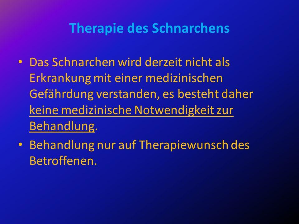 Das Schnarchen wird derzeit nicht als Erkrankung mit einer medizinischen Gefährdung verstanden, es besteht daher keine medizinische Notwendigkeit zur