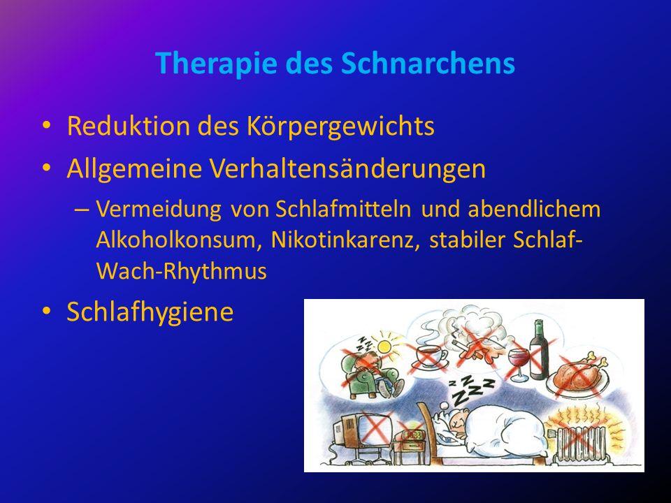 Therapie des Schnarchens Reduktion des Körpergewichts Allgemeine Verhaltensänderungen – Vermeidung von Schlafmitteln und abendlichem Alkoholkonsum, Ni