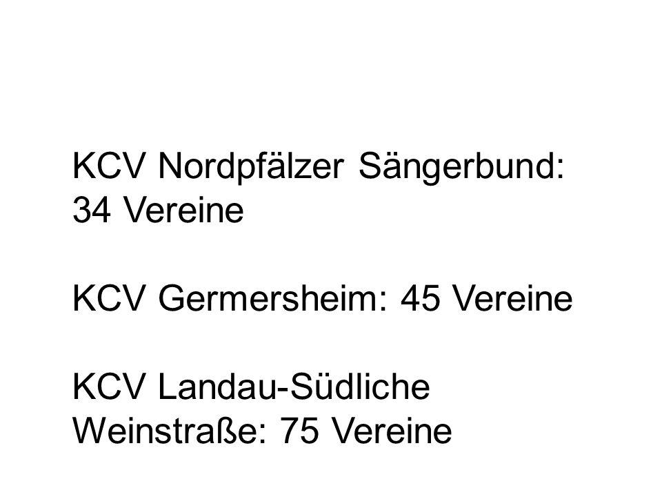 KCV Nordpfälzer Sängerbund: 34 Vereine KCV Germersheim: 45 Vereine KCV Landau-Südliche Weinstraße: 75 Vereine