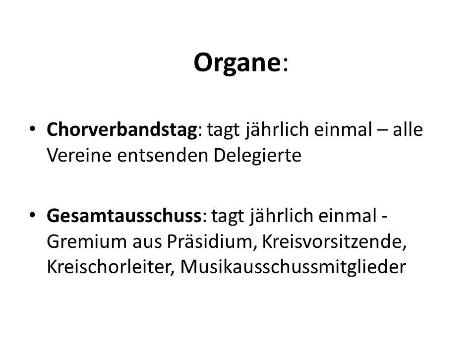 Organe: Chorverbandstag: tagt jährlich einmal – alle Vereine entsenden Delegierte Gesamtausschuss: tagt jährlich einmal - Gremium aus Präsidium, Kreis