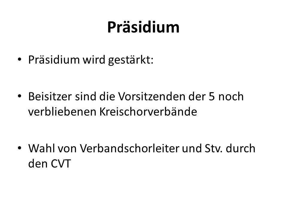 Präsidium Präsidium wird gestärkt: Beisitzer sind die Vorsitzenden der 5 noch verbliebenen Kreischorverbände Wahl von Verbandschorleiter und Stv. durc