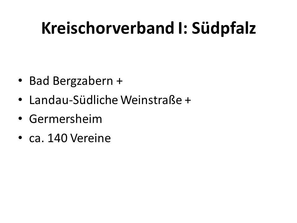 Kreischorverband I: Südpfalz Bad Bergzabern + Landau-Südliche Weinstraße + Germersheim ca. 140 Vereine