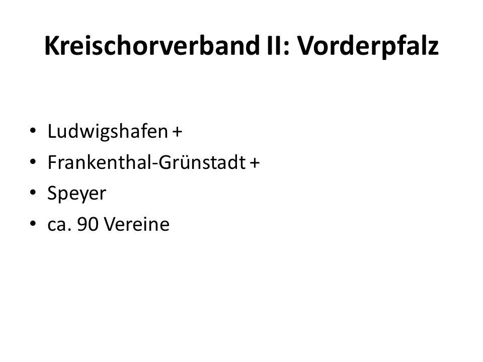 Kreischorverband II: Vorderpfalz Ludwigshafen + Frankenthal-Grünstadt + Speyer ca. 90 Vereine