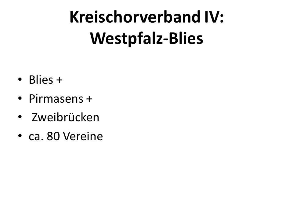 Kreischorverband IV: Westpfalz-Blies Blies + Pirmasens + Zweibrücken ca. 80 Vereine