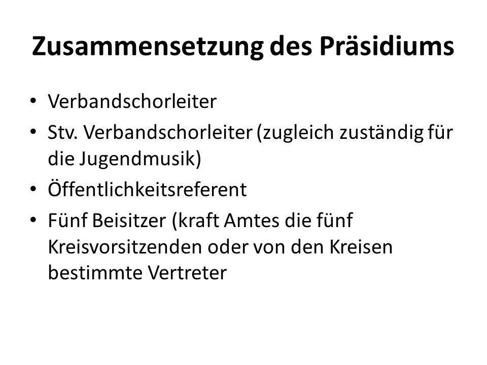 Zusammensetzung des Präsidiums Verbandschorleiter Stv. Verbandschorleiter (zugleich zuständig für die Jugendmusik) Öffentlichkeitsreferent Fünf Beisit