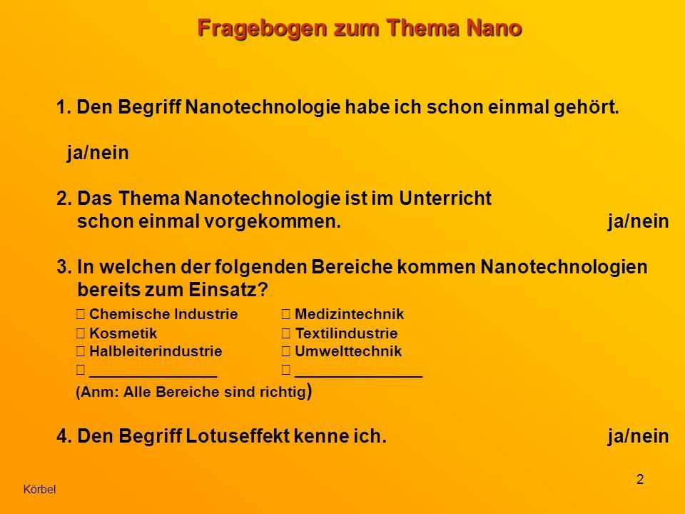 2 Körbel Fragebogen zum Thema Nano 1. Den Begriff Nanotechnologie habe ich schon einmal gehört.