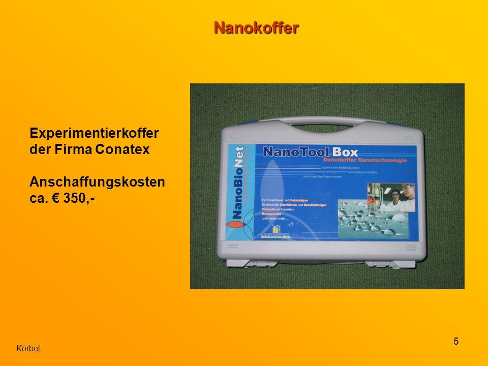5 KörbelNanokoffer Experimentierkoffer der Firma Conatex Anschaffungskosten ca. 350,-