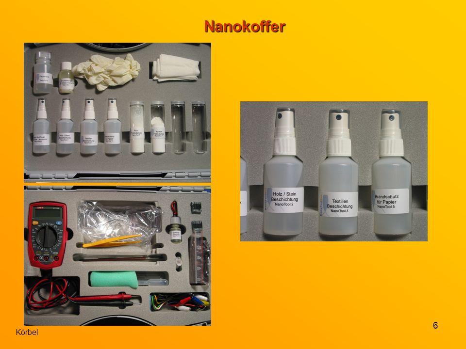 7 Nanokoffer In der Versuchbeschreibung findet man eine anschauliche Einleitung, sowie einführende Experimente zum Thema (ohne Materialien des Koffers).