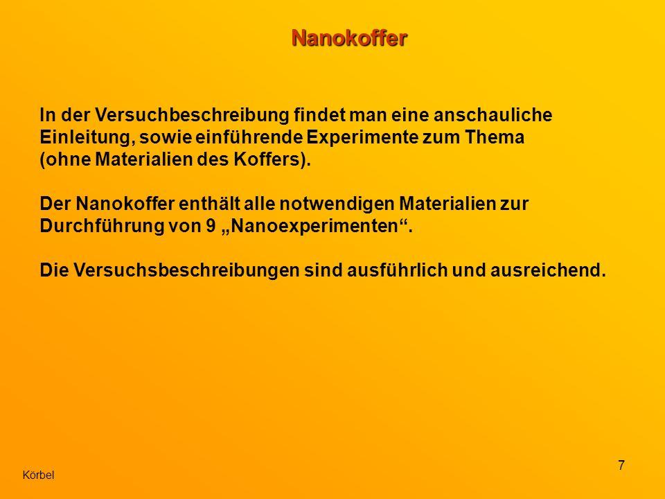 8 KörbelNanokoffer Prinzipiell ist der Nanokoffer sehr zu empfehlen.