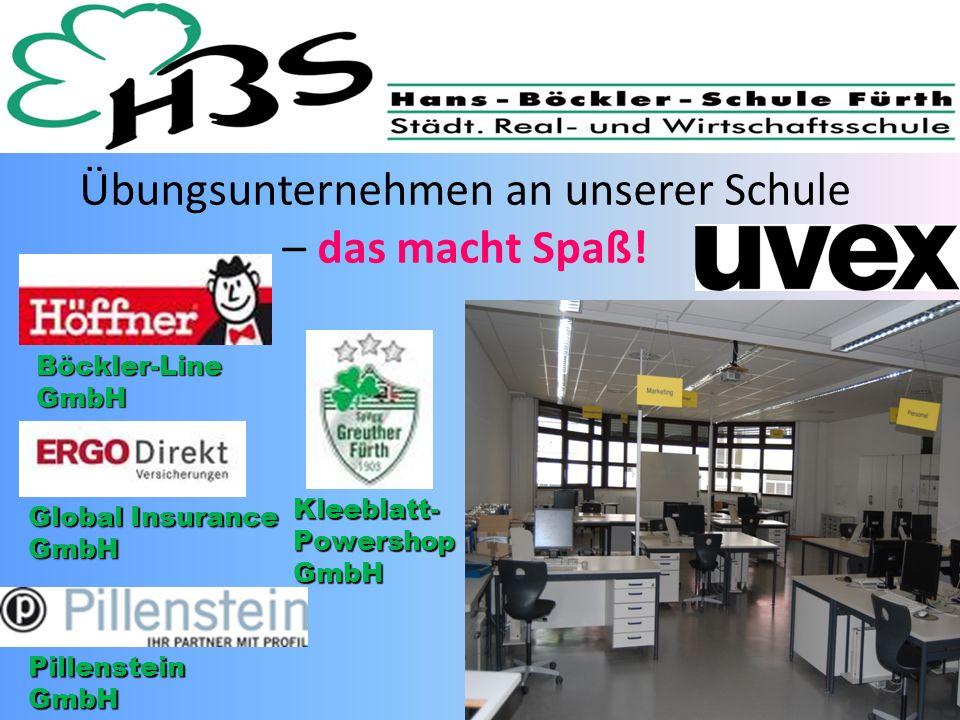 Übungsunternehmen an unserer Schule – das macht Spaß! Global Insurance GmbH Kleeblatt- Powershop GmbH Böckler-Line GmbH Pillenstein GmbH