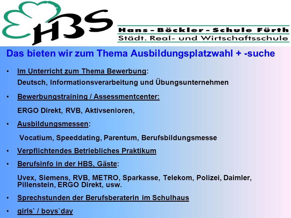 Das bieten wir zum Thema Ausbildungsplatzwahl + -suche Im Unterricht zum Thema Bewerbung: Deutsch, Informationsverarbeitung und Übungsunternehmen Bewe