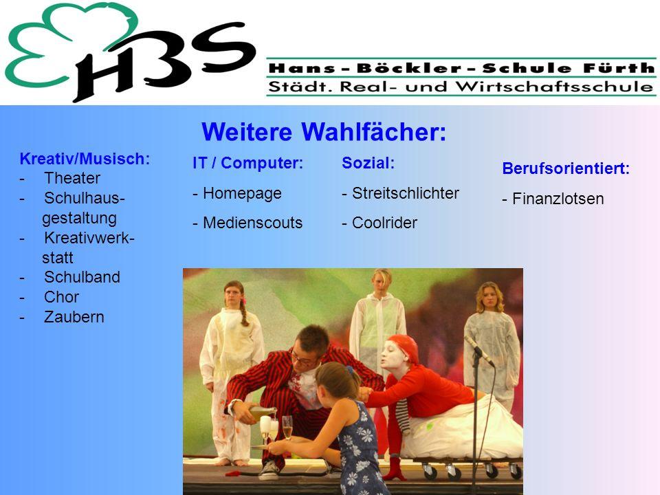 Kreativ/Musisch: -Theater -Schulhaus- gestaltung -Kreativwerk- statt -Schulband -Chor -Zaubern Weitere Wahlfächer: IT / Computer: - Homepage - Mediens