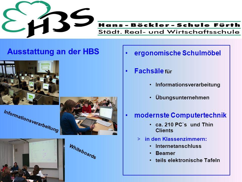 Ausstattung an der HBS Informationsverarbeitung Whiteboards ergonomische Schulmöbel Fachsäle für Informationsverarbeitung Übungsunternehmen modernste