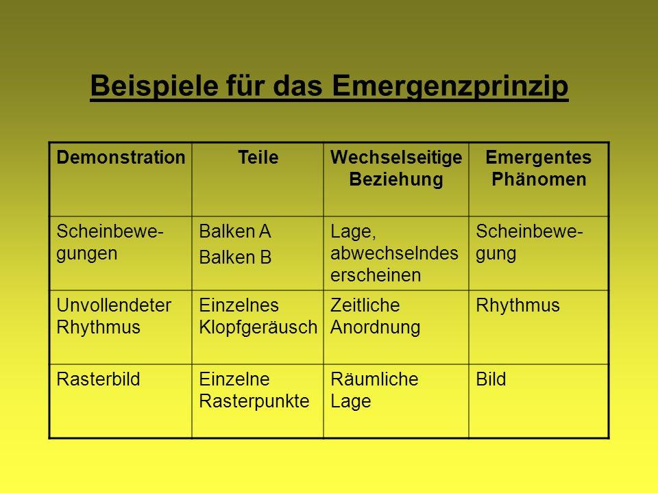 Beispiele für das Emergenzprinzip DemonstrationTeileWechselseitige Beziehung Emergentes Phänomen Scheinbewe- gungen Balken A Balken B Lage, abwechseln