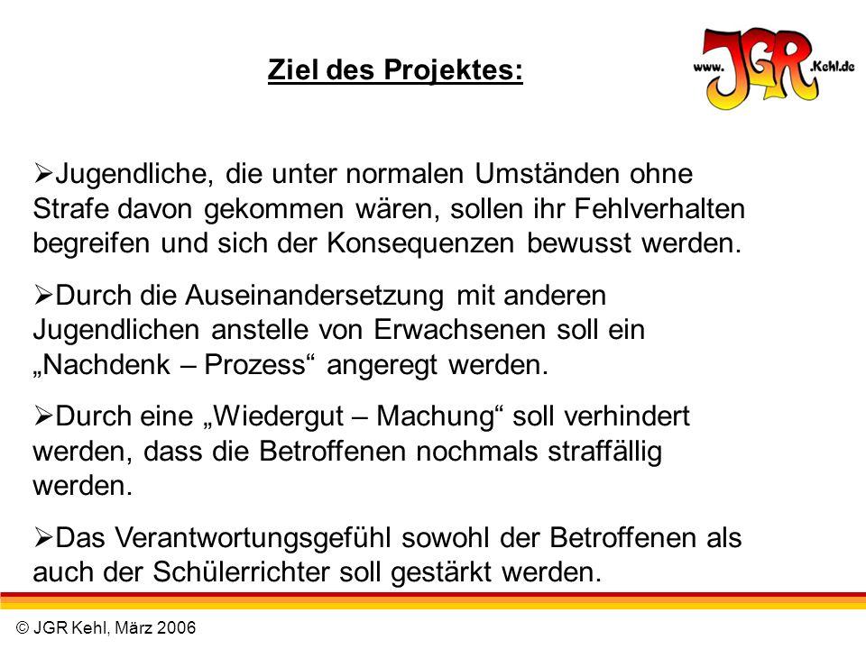 © JGR Kehl, März 2006 Ziel des Projektes: Jugendliche, die unter normalen Umständen ohne Strafe davon gekommen wären, sollen ihr Fehlverhalten begreif
