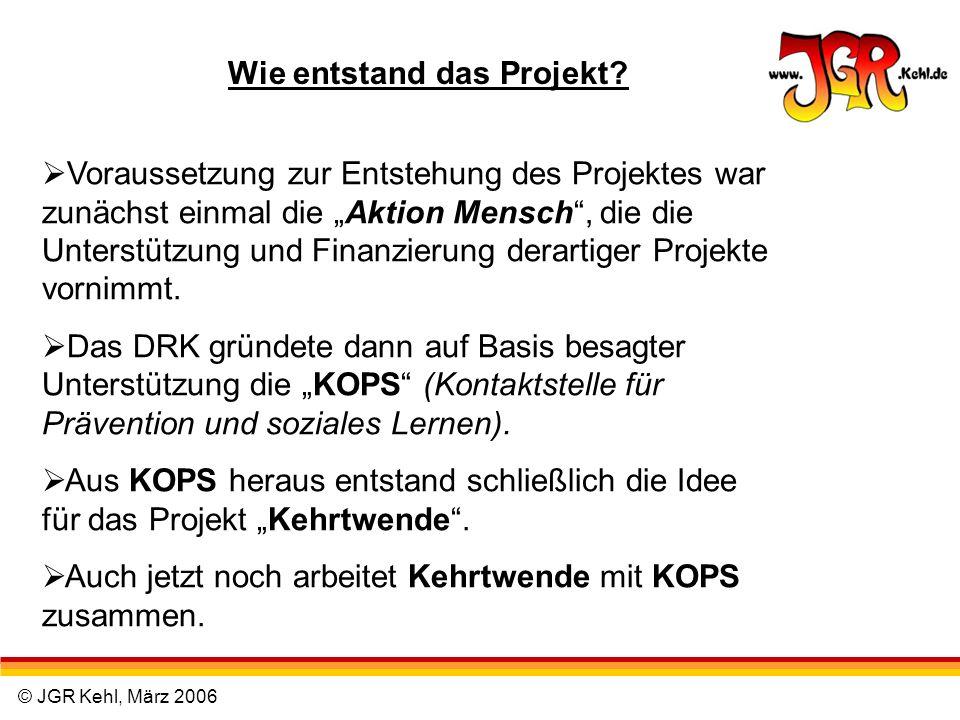 © JGR Kehl, März 2006 Wie entstand das Projekt? Voraussetzung zur Entstehung des Projektes war zunächst einmal die Aktion Mensch, die die Unterstützun