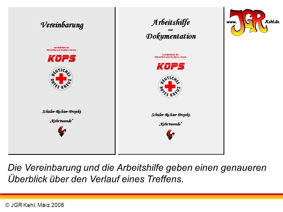 © JGR Kehl, März 2006 Die Vereinbarung und die Arbeitshilfe geben einen genaueren Überblick über den Verlauf eines Treffens.