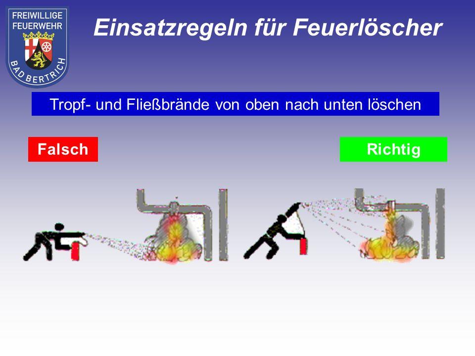 FalschRichtig Tropf- und Fließbrände von oben nach unten löschen Einsatzregeln für Feuerlöscher
