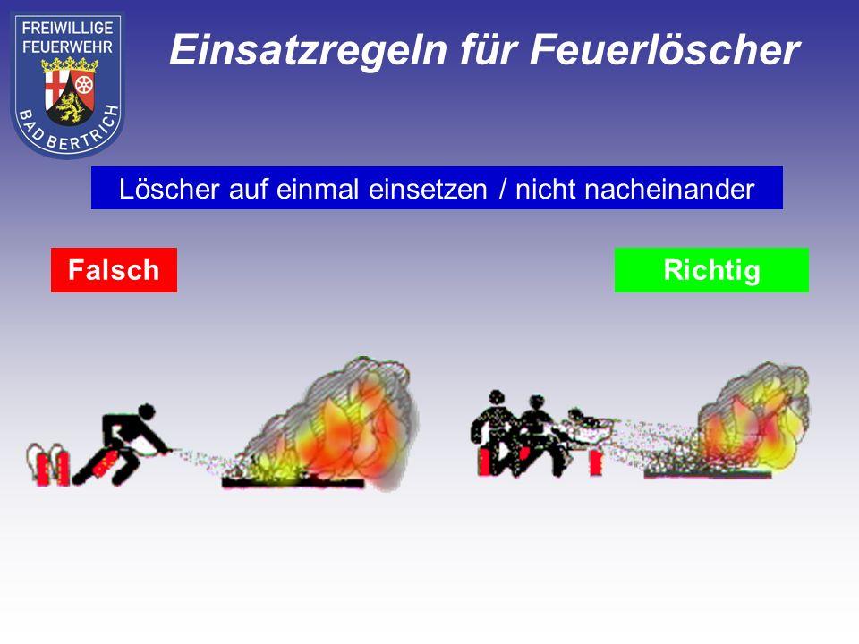 FalschRichtig Löscher auf einmal einsetzen / nicht nacheinander Einsatzregeln für Feuerlöscher