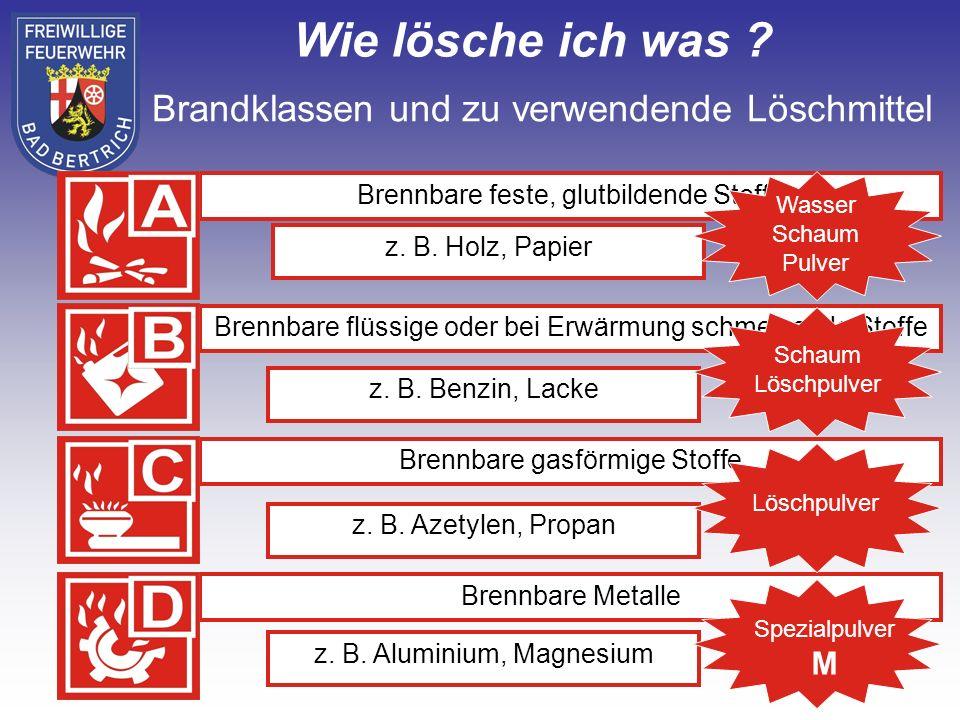 z.B. Holz, Papier z. B. Benzin, Lacke z. B. Azetylen, Propan z.