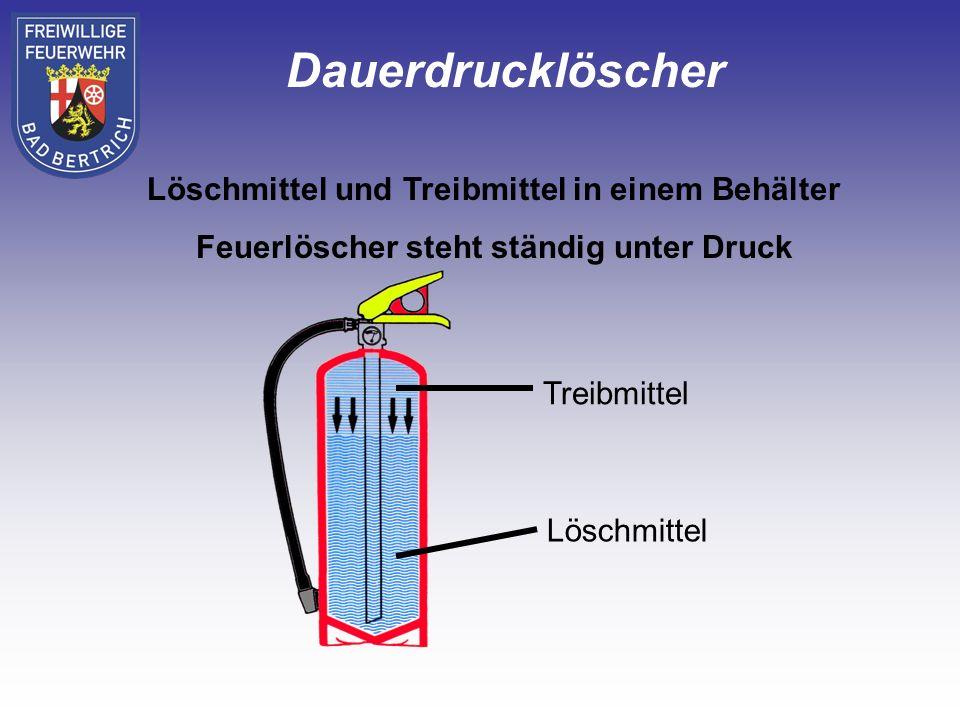 Löschmittel und Treibmittel sind in 2 von einander getrennten Behältern Löschmittelbehälter Treibmittelbehälter (Druckgaspatrone innenliegend oder Druckgasflasche außen) Aufladelöscher