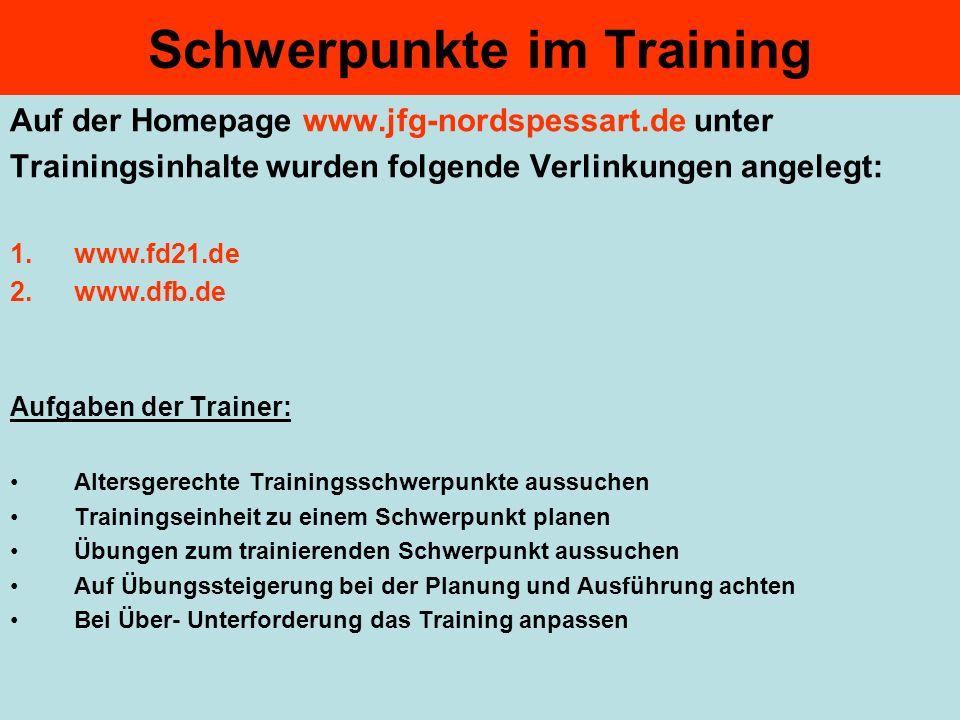 Schwerpunkte im Training Auf der Homepage www.jfg-nordspessart.de unter Trainingsinhalte wurden folgende Verlinkungen angelegt: 1.www.fd21.de 2.www.df