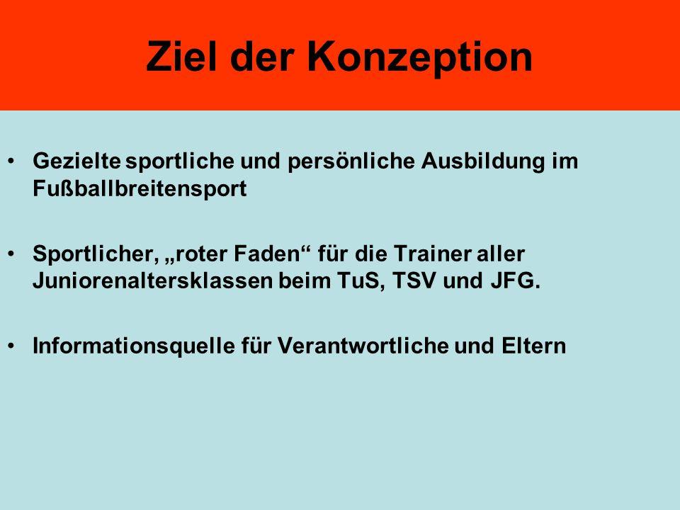 Ziel der Konzeption Gezielte sportliche und persönliche Ausbildung im Fußballbreitensport Sportlicher, roter Faden für die Trainer aller Juniorenalter