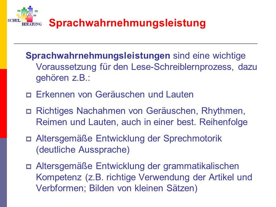 Sprachwahrnehmungsleistung Sprachwahrnehmungsleistungen sind eine wichtige Voraussetzung für den Lese-Schreiblernprozess, dazu gehören z.B.: Erkennen